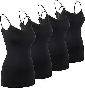 iLoveSIA Womens 4PACK Cami Tank-Tops Black UK 14-16