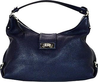 2b30777f39 Salvatore Ferragamo Navy Pebbled Leather Fanisa Mediterraneo Gancini Hobo  Bag
