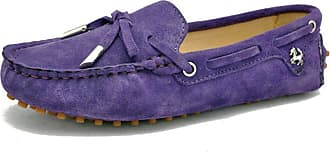 MGM-Joymod Ladies Womens Casual Slip-on Knot Purple Suede Leather Walking Driving Loafers Flats Moccasins Hiking Shoes 6.5 M UK