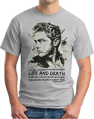 OM3 James Dean - Life and Death - T-Shirt Legends James Byron USA Rockabilly, XXL, Heather Grey