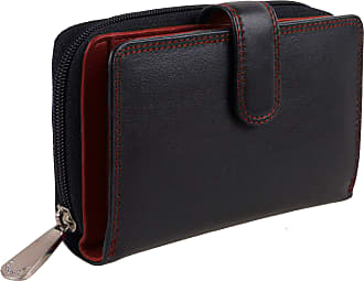 Visconti Quality Ladies Soft Leather Two Tone PURSE WALLET by Visconti; Colorado Gift Boxed (Black & Red)