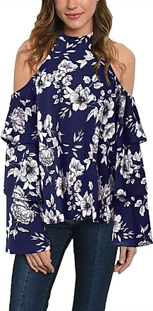 Vonda Women Cold Shoulder Shirts Retro Floral Blouse Long Sleeve Shirt Off Shoulder Slouch Tops A-Navy XL