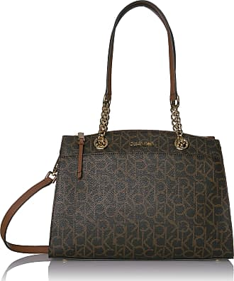 Calvin Klein Womens Hayden Signature Organizational Chain Satchel Bag, Brown/Khaki/Luggage Saffiano, One Size