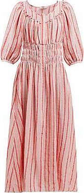 Three Graces London Arabella Dress in Red/Rosa Stripe