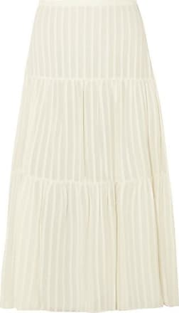 See By Chloé Striped Cotton-jacquard Skirt - Off-white
