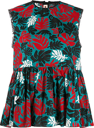 Marni leaf print tunic vest - Blue