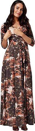Happy Mama Womens Maternity Nursing Maxi Dress 3/4 Sleeves Double Layered 608p (Style 13, UK 12, L)