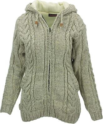Loud Elephant Wool Cable Knit Hooded Jacket - Light Grey (Medium)