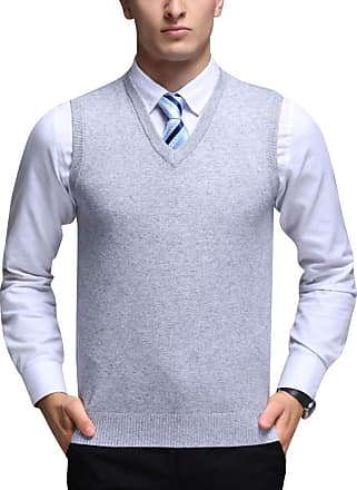 Yonglan Mens Plain Knitted Vest Jumper V-Neck Sleeveless Slipover Knitwear Sweater Tank Tops Light Grey M