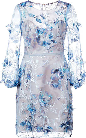 Marchesa embroidered floral dress - Blue