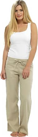 Tom Franks Ladies Womens Full Length Linen Trousers Stone Size 16