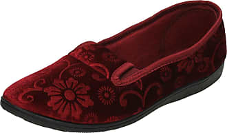 Spot On Ladies Quality Slippers Flower Pattern Slippers - Burgundy Textile - UK Size 3 - EU Size 36 - US Size 5