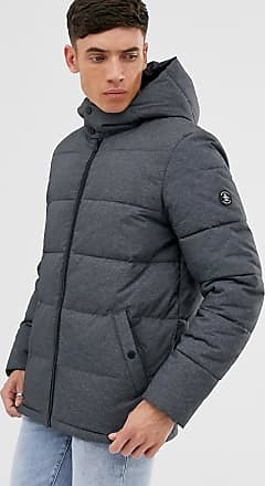 Original Penguin Steppjacke mit Kapuze in Anthrazit-Heide-Grau