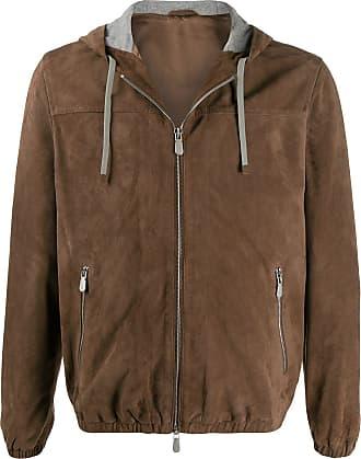 Eleventy suede hooded jacket - Brown