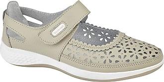 Boulevard DORRIT Ladies Action Leather Wide Fit Shoes Beige UK 5