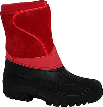 Groundwork NEW LADIES HORSE RIDING YARD WATERPROOF STABLE WALKING RAIN SNOW WINTER SKI WARM FARM MUCKER BOOTS (UK6, red suede)