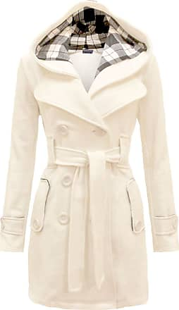 Noroze Womens Long Sleeve Belted Button Fleece Coat (L(12), Cream)