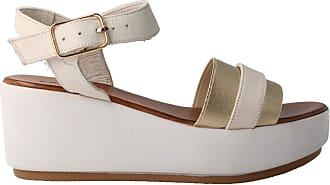 Inuovo 6258 - Gold Leather Sandal for Women Gold Size: 8.5 UK