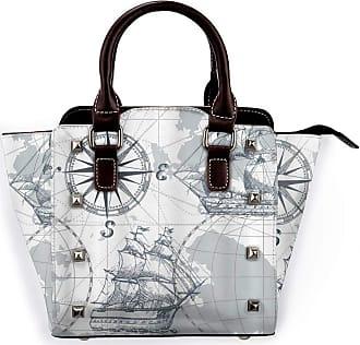 Browncin Nautical Sailboat Map Grey Boat Sketch Ship Wheel Compass Anchor Detachable Fashion Trend Ladies Handbag Shoulder Bag Messenger Bags