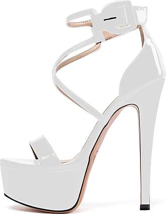 EDEFS Womens Open Toe Stiletto Heel Sandals Ankle Strap Platform Summer Shoes White EU35