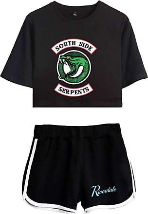 EmilyLe Womens Riverdale Clothing Set Southside Serpents T-Shirt Two Piece Set (XS, Black Black O)