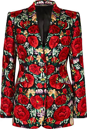 Alexander McQueen Floral-embroidered Wool-blend Blazer - Black