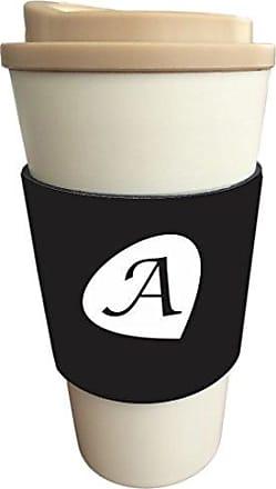 Rikki Knight Letter A Black Initial Petal Leaves Design Latte Beverage Insulator, Black