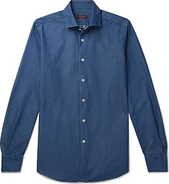 Incotex Fellini Slim-fit Cotton-chambray Shirt - Blue