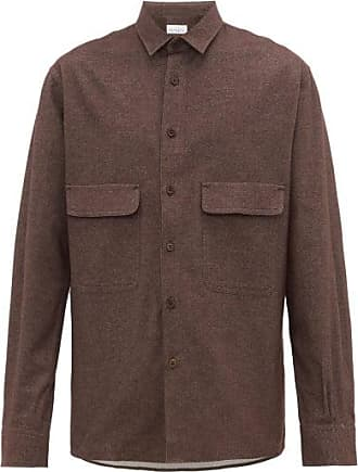 Raey Chest-pocket Brushed Cotton-twill Shirt - Mens - Brown