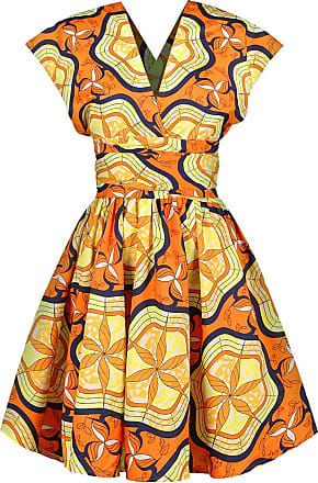 EmilyLe Womens African Vintage Dress Elegant High Waist Multiway Bandage Dress Evening Cocktail Midi Dress Party Dress (M, Yellow Leaves)