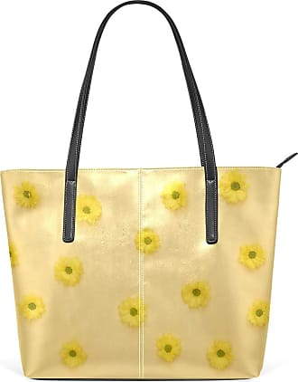 NaiiaN Handbags Leather Daisy Yellow Flower Cute Purse Shopping for Women Girls Ladies Student Shoulder Bags Tote Bag Navy Light Weight Strap