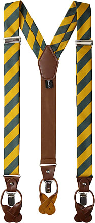 Jacob Alexander Mens College Stripe Y-Back Suspenders Braces Convertible Leather Ends and Clips - Green Gold