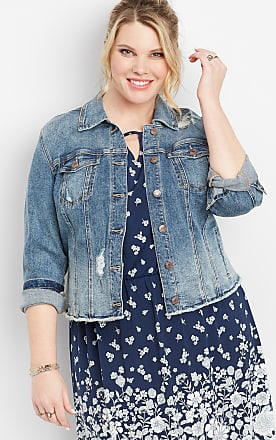Maurices Plus Size - Medium Wash Fray Hem Cropped Jacket