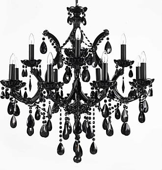 Gallery T40-639 13 Light 2 Tier Chandelier with Crystal Accents Black
