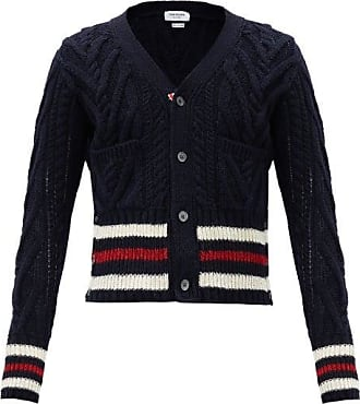 Thom Browne Tricolour-stripe Cabled Wool-blend Cardigan - Mens - Navy