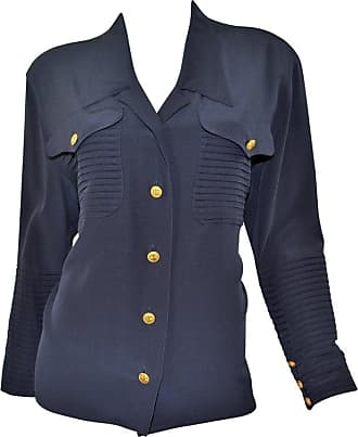 bb26015378c855 Chanel Vintage Chanel Navy Silk Blouse With Gold Clover Buttons