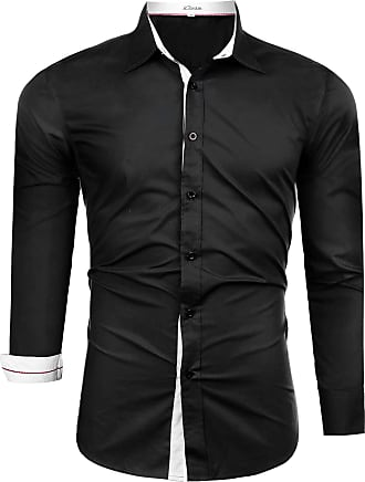 iClosam Mens Business Long Sleeve Basic Shirt Solid Color Casual Button Down Formal Tailored Fit Dress Shirt Black
