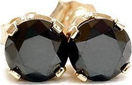 Pompeii3 1.50CT Round Brilliant Cut AAA Black Diamond Studs Yellow Gold Womens Earrings
