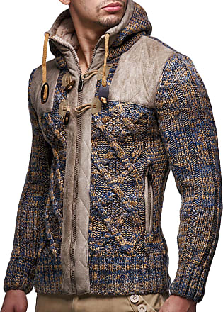 LEIF NELSON Men Cardigan Jacket Hood LN-20525 Brown XX-Large