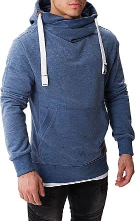 Yazubi Mens Hoody Hooded Sweatshirt Leo Soft Hoodie Sports Work Jumper Shirt Tops Teal Sky Cobalt, Bijou Blue (183921), L
