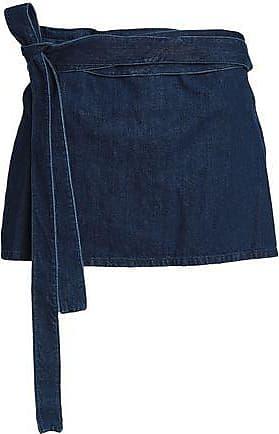 J.W.Anderson J.w.anderson Woman Leather-paneled Denim Mini Skirt Dark Denim Size 14