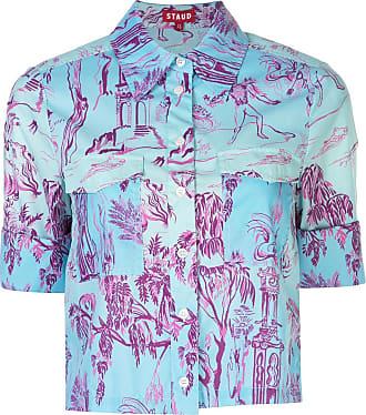 Staud Camisa cropped com estampa de floresta - Azul