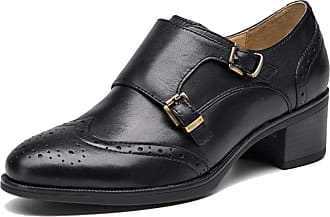 MGM-Joymod Womens Girl Casual Vintage Double Buckle Comfort Perforated Wingtip Brogues Oxford Low-top Dress Leather Shoes (Black) 6.5 M UK