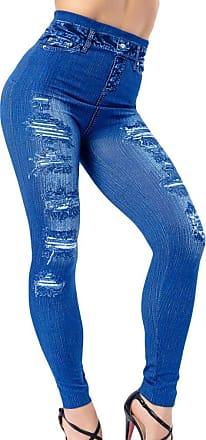 junkai Women Sexy Push Up Seamless High Waist Jeans Leggings Women Hip Elastic Faux Denim Jeggings Pants Leggins