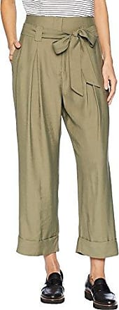 J.O.A. JOA Womens Pleated Roll Up Cropped Paper Bag Pants, Olive, XS