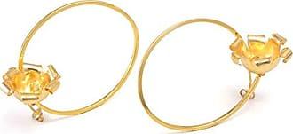 Tinna Jewelry Brinco Dourado Argola Com Flor
