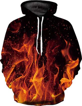 Ocean Plus Mens 3D Funny Hoodie Long Sleeve Multicolor Unisex Hoodie Streetwear Sporty Sweatshirt with Drawstring (S/M (Chest: 112-132CM), Spark Flame)