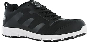 Groundwork GR95 Safety Steel Toe Lightweight Lace Trainers Work Shoes UK 7-11 (UK 9 / US 10 / EU 43, Black / White)