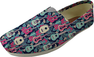 Hugs Idea Casual Canvas Flat Shoes Ladies Teen Girl Espadrilles Pumps Tropical Ukulele Pattern Slacker Shoe