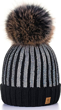 4sold Womens Ladies Winter Hat Knitted Beanie Large Pom Pom Cap Ski Snowboard Hats Bobble Gold Circle (Black Silver)